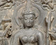 Parvati as Candika (detail), Pala Dynasty (about 900-1100), black limestone.