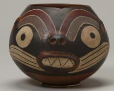 Bowl in the form a Feline, Early Nasca, 200-300, Terracotta with white, gray, red, orange, and black slip. Hood Museum of Art, Dartmouth College: Gift of Frederick E. and Constance M. Landmann; 987.48.26895