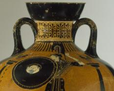 Attributed to the Berlin Painter, Greek, Attic, active about 505-460 BCE, Black-figure Panathenaic Prize Amphora depicting Athena between Columns (side a); Wrestlers and Judge with Staff (side b), 480-470 BCE, terracotta; black-figure.