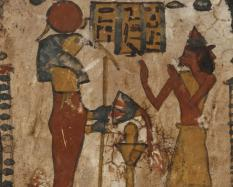 Stela of Amun-Hor, son of Pedy-Iset, Late Period, Dynasty 25 (780-660 BCE), wood and red, green, white, and ochre paint.