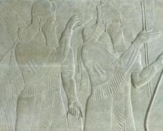 The King and Genie: Relief from the Northwest Palace of Ashurnasirpal II at Nimrud, 883-859 BCE, gypsum. Hood Museum of Art, Dartmouth College: Gift of Sir Henry Rawlinson through Austin H. Wright, Class of 1830; S.856.3.2