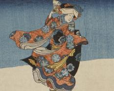 Utagawa Kuniyoshi, Japanese, 1798-1861, Gama Sennin, the Toad Spirit, teaching Yoshikado and his sister Takiyasha the Arts of Magic1845, color woodblock print (triptych). Hood Museum of Art, Dartmouth College: Purchased through the Julia L. Whittier Fund;