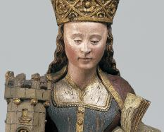Unknown Burgundian Master, French, active late 15th century, Saint Barbara, about 1470-1490, polychrome wood. Hood Museum of Art, Dartmouth College: Gift of Edward A. Hansen and John Philip Kassebaum, Class of 1985P; S.981.102.