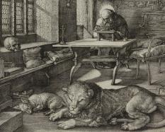 Albrecht Dürer, German, 1471 - 1528, Saint Jerome in his Study, 1514, engraving on laid paper. Hood Museum of Art, Dartmouth College: Gift of the Estate of Jean K. Weil in memory of Adolph Weil Jr., Class of 1935; 2013.7.1.