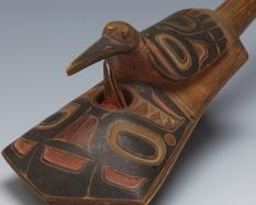 Rattle in the Shape of a Tináa (Copper Shield) (detail), with a Bird Figure, collected about 1820-1860, wood, spruce root, pigment.