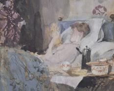 James Abbott McNeill Whistler, American, 1834 - 1903 Maud Reading in Bed (Interior: Study of a Woman in Bed; Interior, Woman Resting in Bed; Maud in Bed) 1883-1884 Opaque and transparent watercolor and pen and brown ink over graphite on tan cardboard.