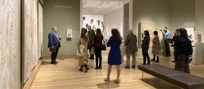 Hood Director John Stomberg leads members of the press on a tour through the newly renovated and expanded galleries. Photo by Alison Palizzolo.