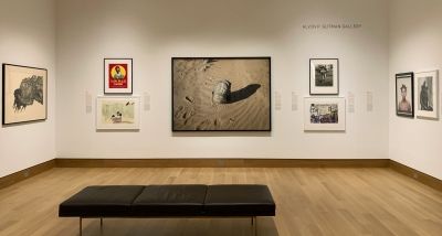 """The student-curated """"A Space for Dialogue"""" exhibition """"Los Mojados: Migrant Bodies and Latinx Identities"""" on view through June 16. Photo by Alison Palizzolo."""