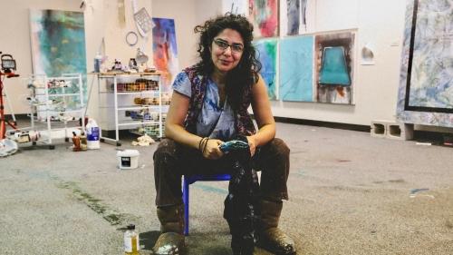 Artist Bahar Behbahani in her studio. Photo by Laura Fuchs.