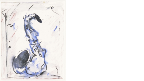 Claes Thure Oldenburg, Blue Saxophone, 1992, Crayon and watercolor on paper, Gift of Hugh J. Freund, Class of 1967; W.2001.43.1. © Claes Oldenburg