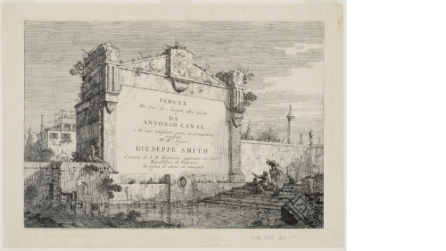 Giovanni Antonio Canal (Canaletto), Title Plate, about 1744, etching on laid paper. Gift of Jean K. Weil in memory of Adolph Weil Jr., Class of 1935; PR.997.5.22.