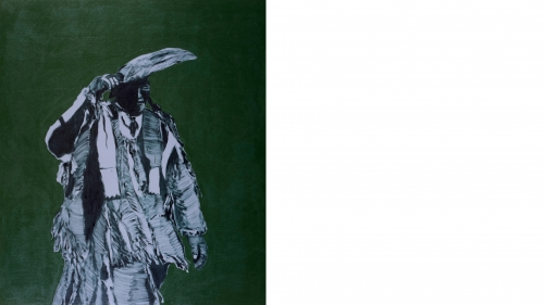 Fritz Scholder, Dartmouth Portrait #17, 1973, oil on canvas, acrylic background. Purchased through the William B. Jaffe and Evelyn A. Jaffe Hall Fund; P.974.11.