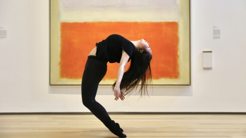 "Sugarplum dancer with Mark Rothko's ""Lilac and Orange over Ivory"""