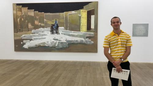 Hadley Detrick '22 stands at Galerie Peter Kilchmann in Zurich