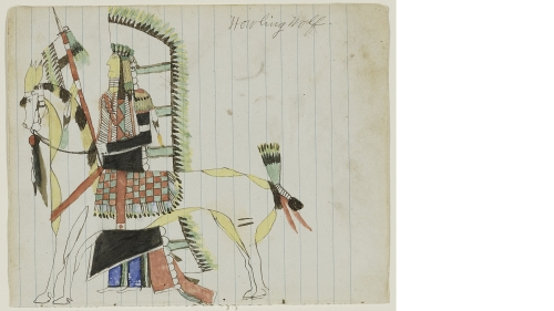 """Howling Wolf (Ho-na-nist-to), Southern Tsistsistas / American, Untitled (Howling Wolf with his War Horse), from the """"Robert Allen Guthrie Notebook"""", about 1874-1875, Ink, colored pencil, watercolor, and graphite on wove blue lined notebook paper, Mark Lan"""