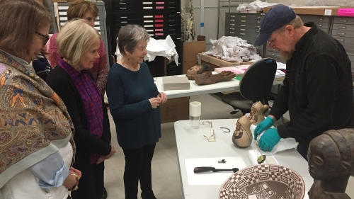Lead preparator John Reynolds discusses the process of making mounts with Hood docents.