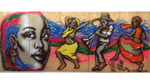 Jerry Rosembert-Moise, Lakou Mizik, 2013, spraypaint on plywood. Collection of the Hood Museum of Art, Dartmouth College: Gift of Anne and Jack Wilson.