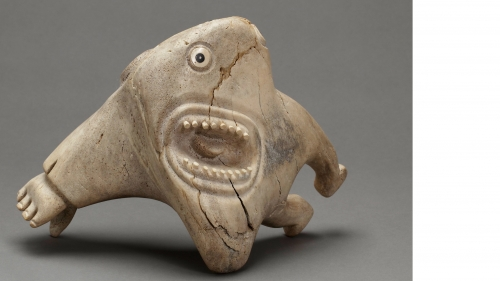 Karoo Ashevak, Untitled (Spirit Figure), about 1970–74, carved whalebone inlaid with walrus ivory, baleen, and stone. Bequest of Evelyn Nef; 2011.25.1.