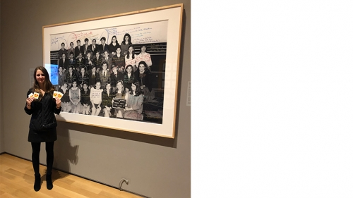 Kensington Cochran '20 in the exhibition School Photos and Their Afterlives