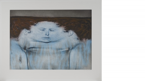 Kiki Smith, My Blue Lake, 1995, photogravure, à la poupée inkling, and lithograph in 3 colors on mold made En Tout Cas paper. Purchased through the Virginia and Preston T. Kelsey '58 Fund, a gift from the Muchnic Foundation in honor of Angela Rosenthal, A
