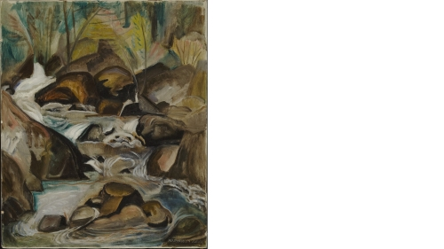 Marguerite Thompson Zorach, Mountain Stream, about 1917, oil on canvas. Purchased through the Katharine T. and Merrill G. Beede 1929 Fund and the Florence and Lansing Porter Moore 1937 Fund; 2012.42.