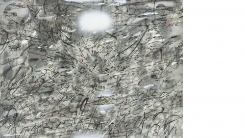 Julie Mehretu, Iridium over Aleppo (detail), 2018, ink and acrylic on linen. Purchased through a gift from Evelyn A. and William B. Jaffe, Class of 1964, by exchange; 2018.13.