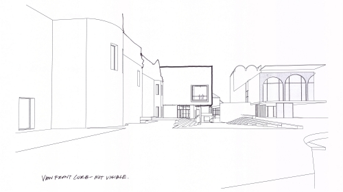 Line drawing of the new north façade and plaza