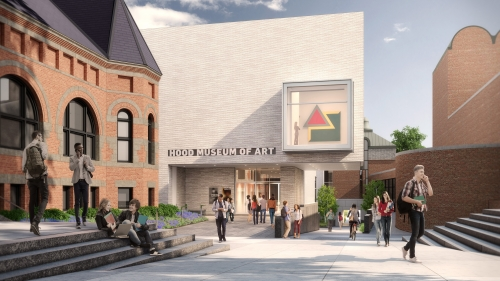 Artist rendering of the north façade of the expanded Hood Museum of Art. Rendering by MARCH.