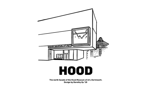 Printable coloring sheet featuring the Hood Museum of Art's north façade.