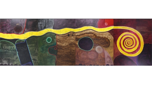 Obiora Udechukwu, Our Journey, 1993, ink and acrylic on stretched canvas (4 panels). Purchased through a gift from Evelyn A. and William B. Jaffe, Class of 1964H, by exchange; 2017.23.