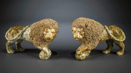 "Lyman, Fenton & Company (1849–52) / United States Pottery Company (1853–58), Bennington, Vermont; Daniel Greatbatch (b. England, active 1838–c. 1861), possible modeler, Pair of Lions, about 1849–58, green and amber ""flint enamel"" lead glaze"