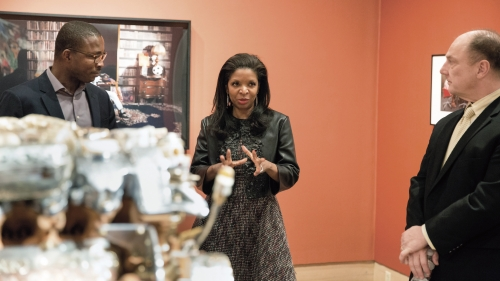 Ugochukwu-Smooth Nzewi, Curator of African Art at the Hood Museum of Art, with Pamela Joyner and John Stomberg in the winter 2016 exhibition Inventory: New Works and Conversations Around African Art. Photo by Robert Gill.
