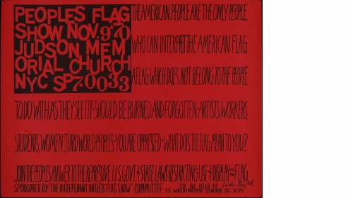 Faith Ringgold, People's Flag Show, 1970, offset lithograph on paper. Purchased through the Mrs. Harvey P. Hood W'18 Fund; 2012.16.