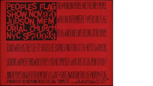 Faith Ringgold, People's Flag Show, 1970, offset lithograph. Purchased through the Mrs. Harvey P. Hood W'18 Fund; 2012.16. © Faith Ringgold 1970.