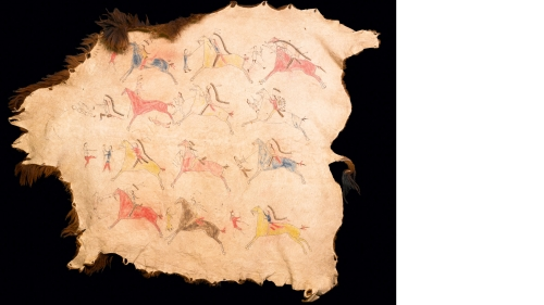Sioux painted pictorial buffalo robe, dated about 1870–80, depicting the war exploits of intertribal conflict (Sioux warriors fighting Crow warriors, who are recognizable by their hairstyles and attire).