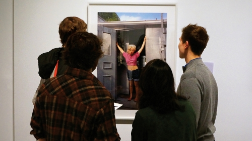 Dartmouth's introductory French II class works in the exhibition About Face