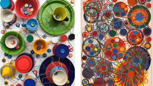 A recreation of a painting using wax, plates, cups, and mugs.