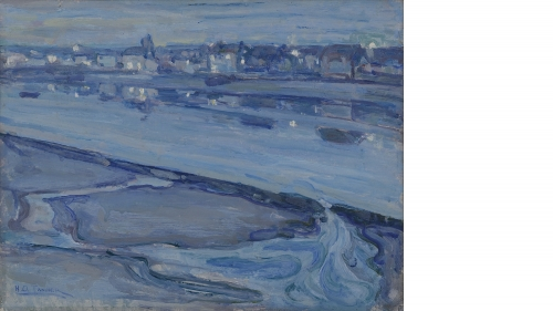 Henry Ossawa Tanner, Étaples and the Canche River at Dusk, about 1918, oil on paperboard. Purchased through the Katharine T. and Merrill G. Beede 1929 Fund, the Miriam and Sidney Stoneman Acquisition Fund, and through gifts by exchange, including gifts fr