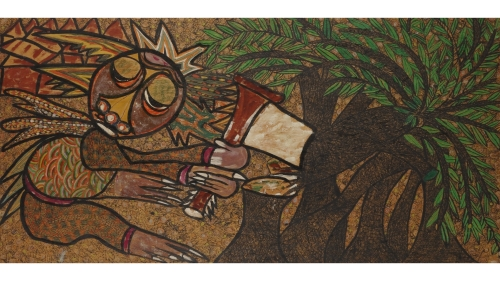 Twins Seven Seven,Untitled (Figure Cutting Down Tree), 1970s, acrylic and felt-tipped pen on plywood.Gift of Edward B. Marks, President, Class of 1932, in memory of Tom Marks, Class of 1965;D.2003.21.1. Photo by Jeffrey Nintzel.