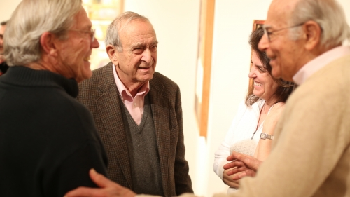 """Artist Varujan Boghosian at the exhibition opening reception for """"In Residence: Contemporary Artists at Dartmouth"""". Photo by Rob Strong."""