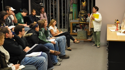 "Vera Palmer, a senior lecturer in Native American Studies, teaches ""Perspectives in Native American Studies"" in the Hood's Bernstein Study-Storage Center in 2011."