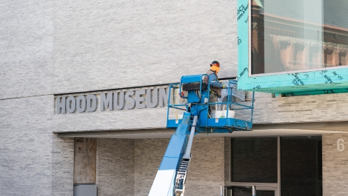 Hood Museum of Art sign installation