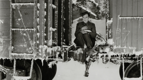 Buster Keaton in an icy train car in the 1925 silent film 'Go West.'