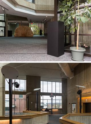 Fig. 6. View of the two of four first-floor speakers and the electronics box for Jacob Kirkegaard's Transmission, 2017, Sherman Fairchild Physical Sciences Center. Fig. 7. Three of the four fourth-floor speakers mounted on existing light poles as part of