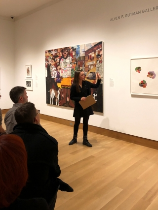 Devon Mifflin '21 gives her public gallery talk for Vision 2020: What do you see?, her Space for Dialogue exhibition.