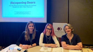 Campus Engagement Coordinator Isadora Italia, Museum Educator Jamie Rosenfeld, and Program and Events Coordinator Sharon Reed present at the 2019 NEMA fall conference.
