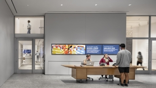 The Visitor Services Guides desk in the Russo Atrium. Photograph copyright Micael Moran.