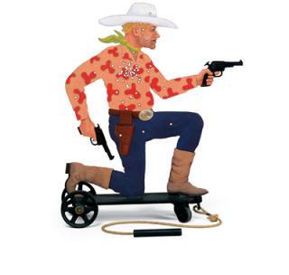 Cowboy on a pull cart