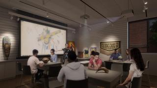 Three new smart object-study rooms in the museum's new Center for Object Study will create unparalleled opportunities for study and research in a museum setting, addressing the increased curricular demand for direct engagement with original works. Renderi