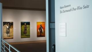 Mateo Romero: The Dartmouth Pow-wow Suite installed in the Hood Museum's Harrington Gallery. Photo by Jeffrey Nintzel.